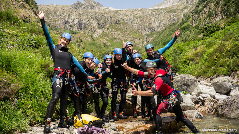 Group canyoning speleo canyon ariege